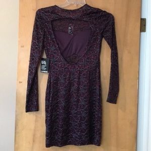 NWT Beautiful Burgundy Long Sleeve Lace Dress